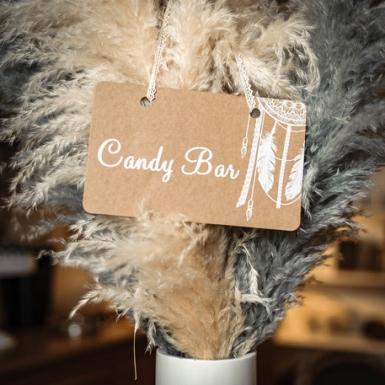Pancarte Candy bar boho kraft et lien dentelle 25 x 15,5 cm-1