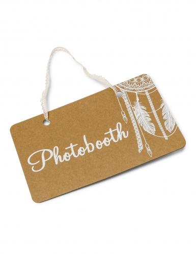 Pancarte Photobooth boho kraft avec lien dentelle 25 x 15,5 cm