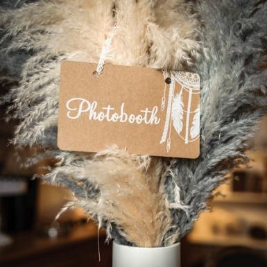 Pancarte Photobooth boho kraft avec lien dentelle 25 x 15,5 cm-1