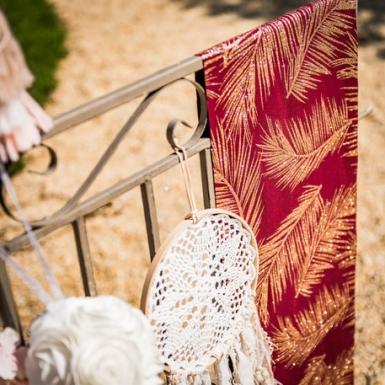 Chemin de table lin marsala fougères cuivrées 28 cm x 5 m-2