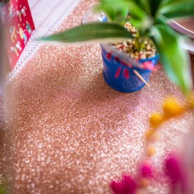 Chemin de table paillettes rose gold 30 cm x 3 m-1