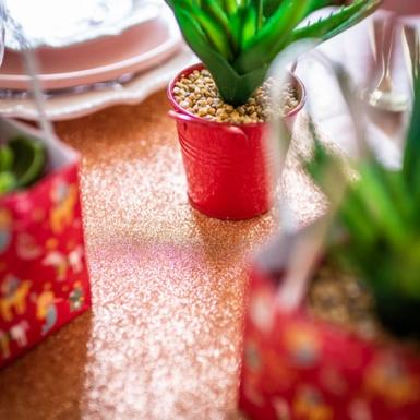 Chemin de table paillettes rose gold 30 cm x 3 m-2