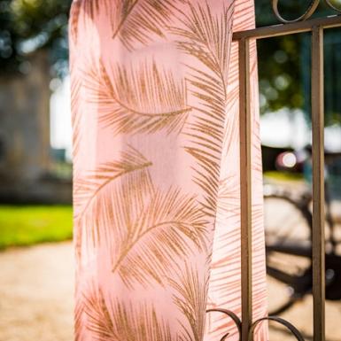 Chemin de table en lin rose poudré fougères dorées 28 cm x 5 m-1