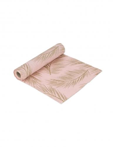 Chemin de table en lin rose poudré fougères dorées 28 cm x 5 m