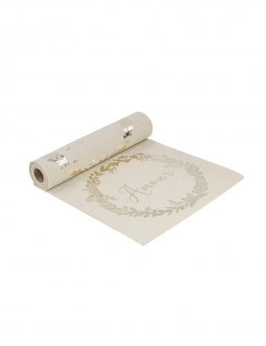 Chemin de table en lin naturel Amour champagne 28 cm x 5 m