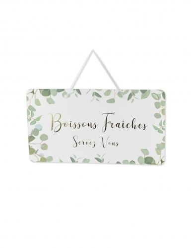 Pancarte Boissons Fraîches eucalyptus papier texturé et dorure 47x26cm