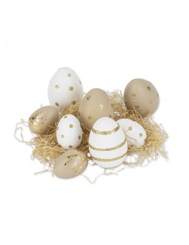 8 Oeufs déco blancs et taupe paillettes or avec raphia 6 à 8 cm