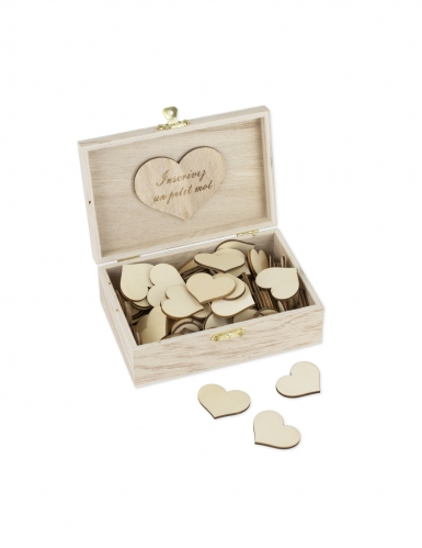 Livre d'or boite Pour la vie 15 x 10 cm et 96 cœurs bois