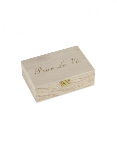 Livre d'or boite Pour la vie 15 x 10 cm et 96 cœurs bois-1