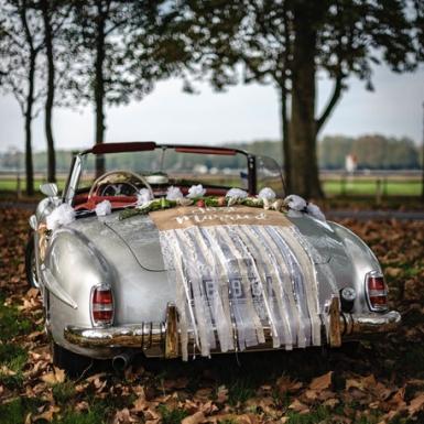 Kit voiture des mariés champêtre jute et dentelle-2