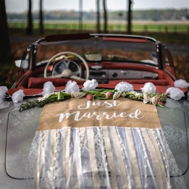 Kit voiture des mariés champêtre jute et dentelle-3