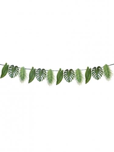 Guirlande en carton feuilles tropicales vertes 3,5 m-1