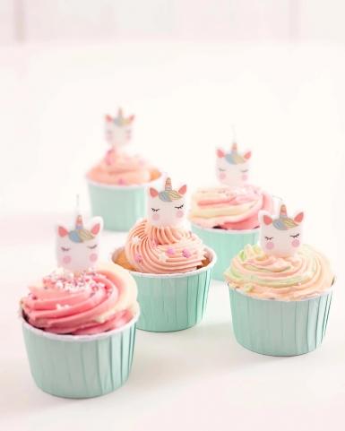 5 Bougies d'anniversaire tête de licorne-2