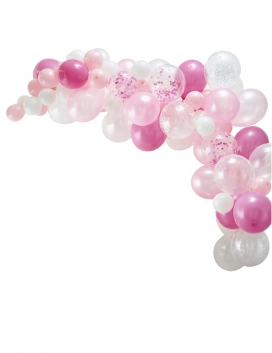 Kit arche de 70 ballons en latex roses