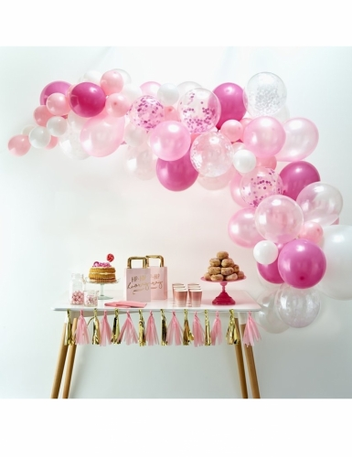 Kit arche de 70 ballons en latex roses-1
