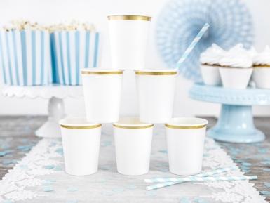 6 Gobelets en carton blancs et bordures dorées 260 ml-2