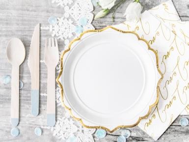 6 Petites assiettes en carton blanches et bordures dorées 18 cm-1