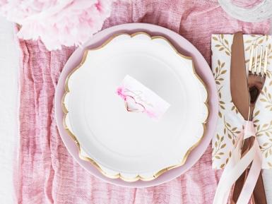 6 Petites assiettes en carton blanches et bordures dorées 18 cm-2