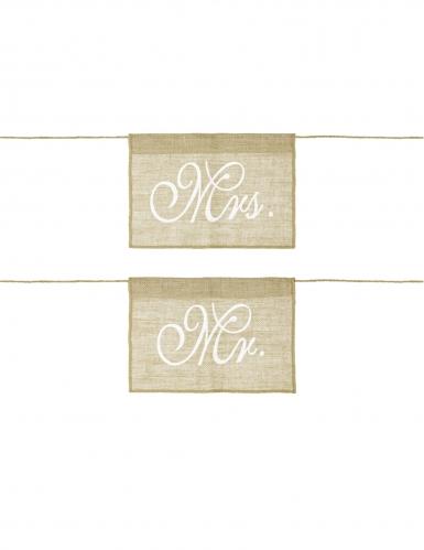 2 Fanions pour chaise en jute Mrs et Mr 30 x 21,5 cm
