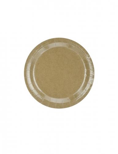 6 Assiettes en carton kraft brillant 23 cm