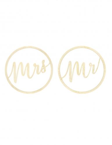 2 Suspensions en bois Mrs et Mr 38 cm