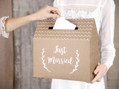 Urne en carton kraft just married 30 x 30,5 x 16,5 cm-1