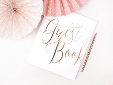 Guest book blanc et rose gold 22 pages 20 x 24,5 cm-1
