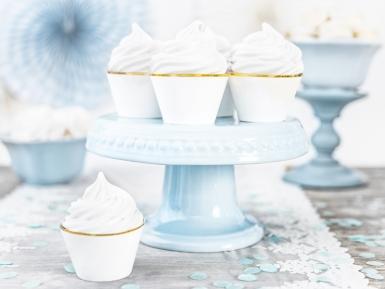 6 Habillages à cupcakes en papier blancs et dorés 4,8 x 7,6 x 4,6 cm-1