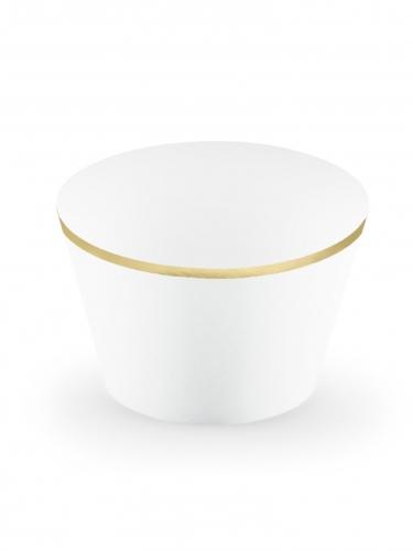6 Habillages à cupcakes en papier blancs et dorés 4,8 x 7,6 x 4,6 cm