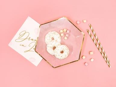 6 Assiettes hexagonales en carton roses et dorées 23 cm-1