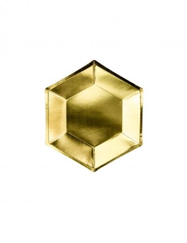 6 Petites assiettes hexagonales en carton dorées 20 cm