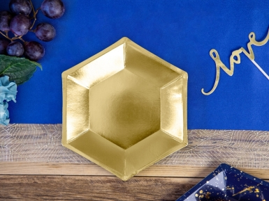 6 Petites assiettes hexagonales en carton dorées 20 cm-1