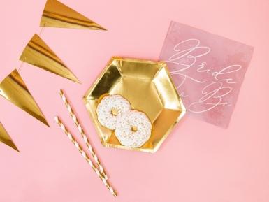6 Petites assiettes hexagonales en carton dorées 20 cm-2