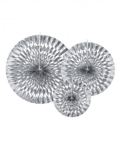 3 Rosaces en papier argentées 40, 32 et 23 cm