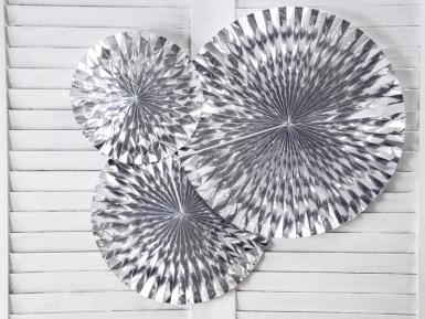 3 Rosaces en papier argentées 40, 32 et 23 cm-1