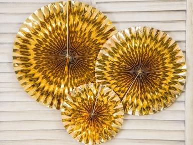 3 Rosaces en papier dorées 40, 32 et 23 cm-1