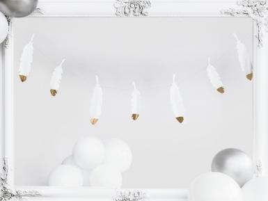 Guirlande de plumes blanches et dorées 13,5 cm x 1,6 m-1