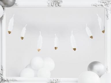 Guirlande de plumes blanches et dorées 13,5 cm x 1,6 m
