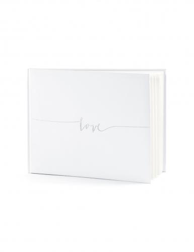 Livre d'or love blanc et argent 22 pages 24 x 18,5 cm