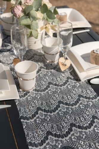 Chemin de table en polyester boho chic blanc 3 m-1