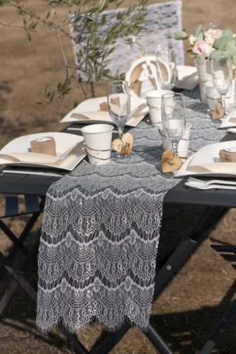 Chemin de table en polyester boho chic blanc 3 m-2