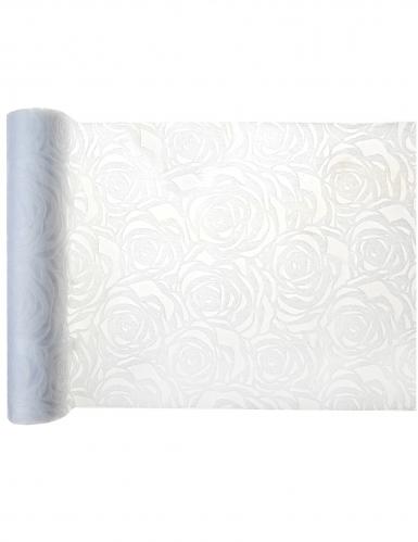 Chemin de table en tissu roses blanches 30 cm x 5 m