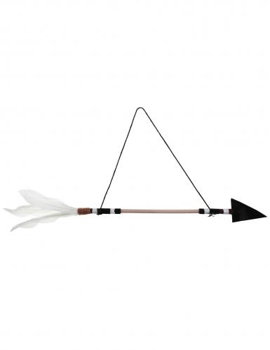 Suspension en bois et plume Flèche 47 x 5,5 x 16 cm