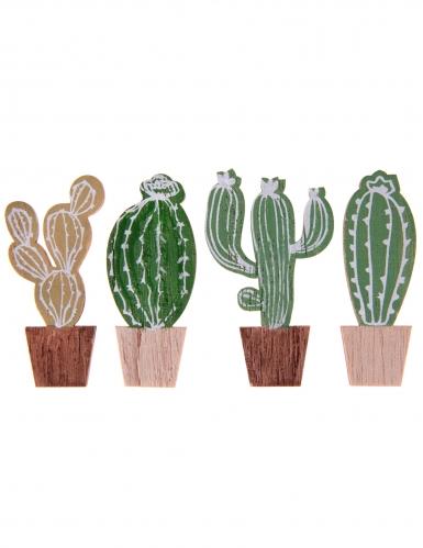 4 Décorations en bois Cactus 3 x 5,5 cm
