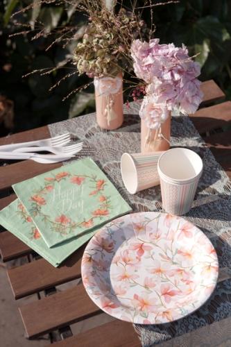 10 Gobelets en carton Happy Day blancs et roses 7,8 x 9,7 cm 12 cl-1