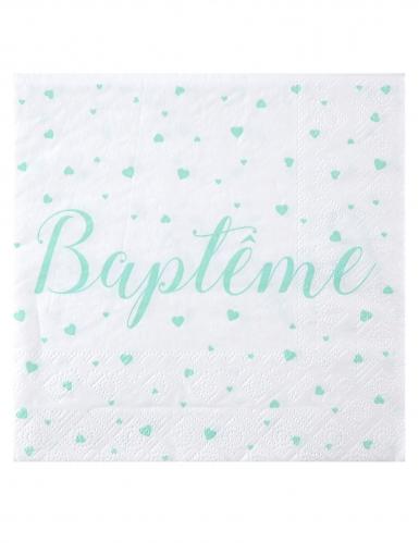 20 Serviettes en papier Baptême blanches et menthes 33 x 33 cm