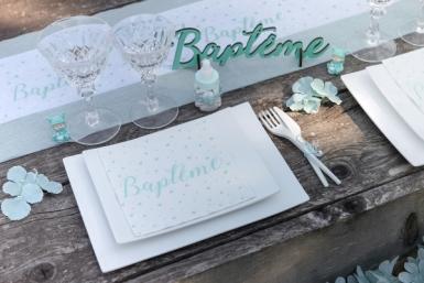 20 Serviettes en papier Baptême blanches et menthes 33 x 33 cm-1