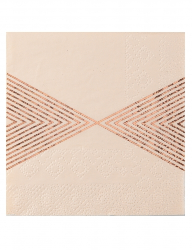 20 Petites serviettes en papier striées métallisés pêche 25 x 25 cm