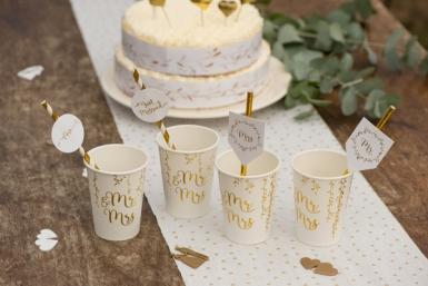 8 Pailles en papier Just Married métallisées 20 cm-1