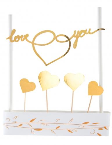 Cake topper en carton Just Married métallisé doré 3 x 7 cm